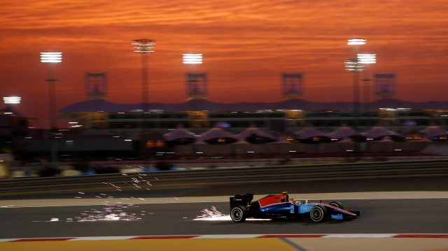 Pascal Wehrlein (GER) Manor Racing MRT05 sparks at Formula One World Championship, Rd2, Bahrain Grand Prix Practice, Bahrain International Circuit, Sakhir, Bahrain, Friday 1 April 2016. &copy&#x3b; Sutton Motorsport Images