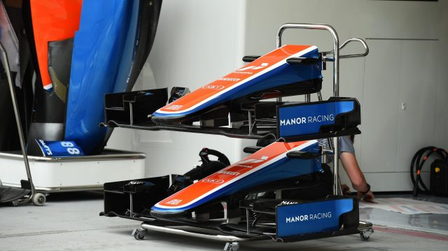 Manor Racing MRT05 nose and front wings at Formula One World Championship, Rd2, Bahrain Grand Prix Preparations, Bahrain International Circuit, Sakhir, Bahrain, Thursday 31 March 2016. &copy&#x3b; Sutton Motorsport Images