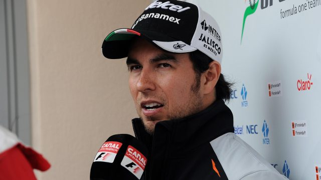 Sergio Perez (MEX) Force India talks to the media at Formula One World Championship, Rd2, Bahrain Grand Prix Preparations, Bahrain International Circuit, Sakhir, Bahrain, Thursday 31 March 2016. &copy&#x3b; Sutton Motorsport Images