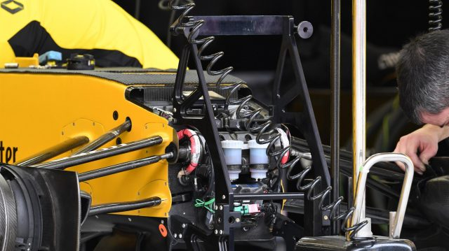 Renault Sport F1 Team RS16 chassis detail at Formula One World Championship, Rd2, Bahrain Grand Prix Preparations, Bahrain International Circuit, Sakhir, Bahrain, Thursday 31 March 2016. &copy&#x3b; Sutton Motorsport Images