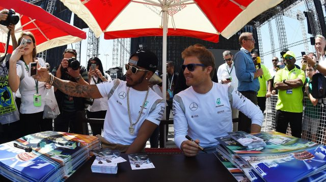 Lewis Hamilton (GBR) Mercedes AMG F1 and Nico Rosberg (GER) Mercedes AMG F1 pose for a selfie at the autograph session at Formula One World Championship, Rd2, Bahrain Grand Prix Qualifying, Bahrain International Circuit, Sakhir, Bahrain, Saturday 2 April 2016. &copy&#x3b; Sutton Motorsport Images