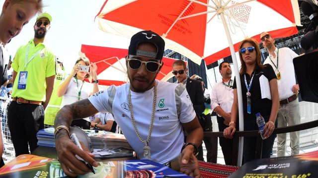 Lewis Hamilton (GBR) Mercedes AMG F1 at the autograph session at Formula One World Championship, Rd2, Bahrain Grand Prix Qualifying, Bahrain International Circuit, Sakhir, Bahrain, Saturday2 April 2016. &copy&#x3b; Sutton Motorsport Images