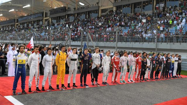 National Anthem on the grid at Formula One World Championship, Rd2, Bahrain Grand Prix Race, Bahrain International Circuit, Sakhir, Bahrain, Sunday 3 April 2016. &copy&#x3b; Sutton Motorsport Images