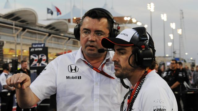 Eric Boullier (FRA) McLaren Racing Director and Fernando Alonso (ESP) McLaren on the grid on the grid at Formula One World Championship, Rd2, Bahrain Grand Prix Race, Bahrain International Circuit, Sakhir, Bahrain, Sunday 3 April 2016. &copy&#x3b; Sutton Motorsport Images