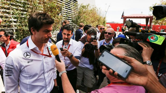 Toto Wolff (AUT) Mercedes AMG F1 Director of Motorsport talks with the media at Formula One World Championship, Rd2, Bahrain Grand Prix Race, Bahrain International Circuit, Sakhir, Bahrain, Sunday 3 April 2016. &copy&#x3b; Sutton Motorsport Images
