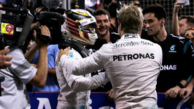 Race winner Nico Rosberg (GER) Mercedes AMG F1 celebrates with Lewis Hamilton (GBR) Mercedes AMG F1 in parc ferme at Formula One World Championship, Rd2, Bahrain Grand Prix Race, Bahrain International Circuit, Sakhir, Bahrain, Sunday 3 April 2016. &copy&#x3b; Sutton Motorsport Images