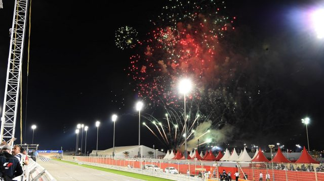 Fireworks at the end of the race at Formula One World Championship, Rd2, Bahrain Grand Prix Race, Bahrain International Circuit, Sakhir, Bahrain, Sunday 3 April 2016. &copy&#x3b; Sutton Motorsport Images