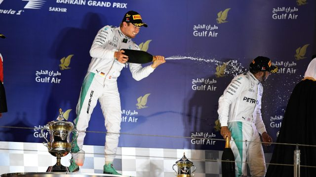 Race winner Nico Rosberg (GER) Mercedes AMG F1 and Lewis Hamilton (GBR) Mercedes AMG F1 celebrate on the podium at Formula One World Championship, Rd2, Bahrain Grand Prix Race, Bahrain International Circuit, Sakhir, Bahrain, Sunday 3 April 2016. &copy&#x3b; Sutton Motorsport Images