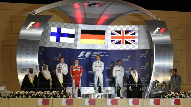 Podium (L to R): Aldo Costa (ITA) Mercedes AMG F1 Engineering Director, Kimi Raikkonen (FIN) Ferrari, race winner Nico Rosberg (GER) Mercedes AMG F1 and Lewis Hamilton (GBR) Mercedes AMG F1 at Formula One World Championship, Rd2, Bahrain Grand Prix Race, Bahrain International Circuit, Sakhir, Bahrain, Sunday 3 April 2016. &copy&#x3b; Sutton Motorsport Images