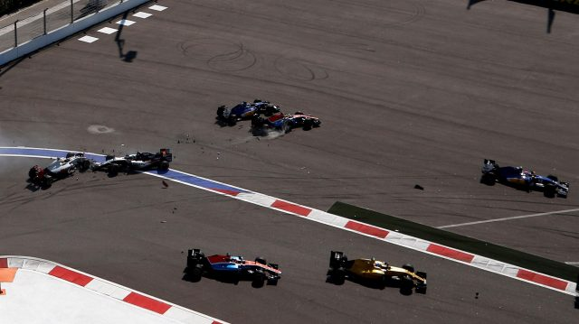 Esteban Gutierrez (MEX) Haas VF-16, Nico Hulkenberg (GER) Force India VJM09 Rio Haryanto (IDN) Manor Racing MRT05 and Marcus Ericsson (SWE) Sauber C35 collide at the start of the race at Formula One World Championship, Rd4, Russian Grand Prix, Race, Sochi Autodrom, Sochi, Krasnodar Krai, Russia, Sunday 1 May 2016. &copy&#x3b; Sutton Motorsport Images
