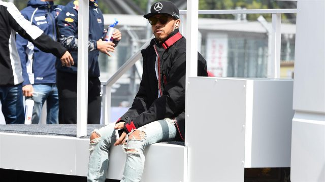 Lewis Hamilton (GBR) Mercedes AMG F1 on the drivers parade at Formula One World Championship, Rd4, Russian Grand Prix, Race, Sochi Autodrom, Sochi, Krasnodar Krai, Russia, Sunday 1 May 2016. &copy&#x3b; Sutton Motorsport Images