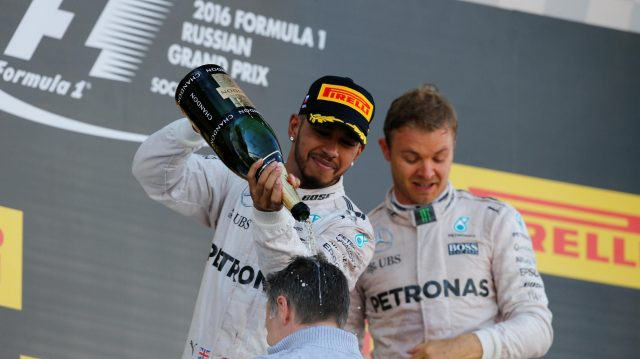 Lewis Hamilton (GBR) Mercedes AMG F1 celebrates with the champagne on the podium at Formula One World Championship, Rd4, Russian Grand Prix, Race, Sochi Autodrom, Sochi, Krasnodar Krai, Russia, Sunday 1 May 2016. &copy&#x3b; Sutton Motorsport Images