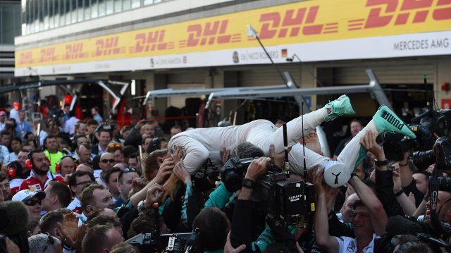 Race winner Nico Rosberg (GER) Mercedes AMG F1 celebrates  with the mechanics in parc ferme at Formula One World Championship, Rd4, Russian Grand Prix, Race, Sochi Autodrom, Sochi, Krasnodar Krai, Russia, Sunday 1 May 2016. &copy&#x3b; Sutton Motorsport Images