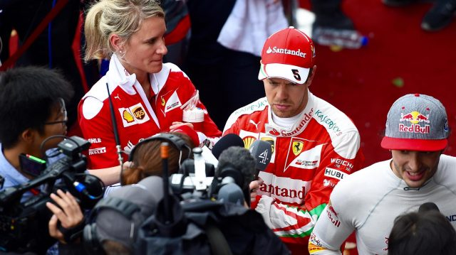 Sebastian Vettel (GER) Ferrari talks with the media at Formula One World Championship, Rd3, Chinese Grand Prix, Qualifying, Shanghai, China, Saturday 16 April 2016. &copy&#x3b; Sutton Motorsport Images