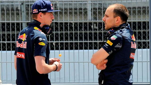 Max Verstappen (NED) Red Bull Racing talks with Gianpiero Lambiase (ITA) Red Bull Racing Race Engineer at Formula One Testing, Day One, Barcelona, Spain, 17 May 2016. &copy&#x3b; Sutton Images