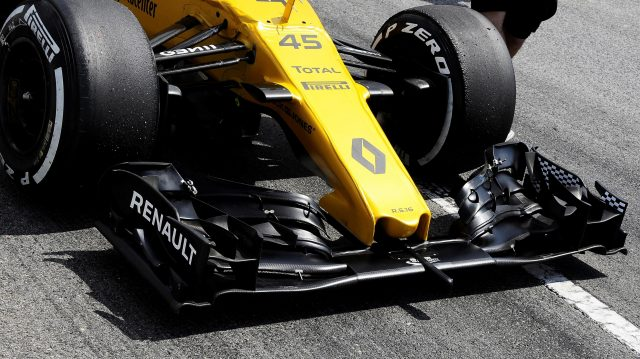 Renault Sport F1 Team RS16 nose and front wing at Formula One Testing, Day One, Barcelona, Spain, 17 May 2016. &copy&#x3b; Sutton Images