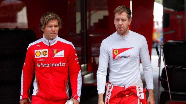 Sebastian Vettel (GER) Ferrari with his trainer Antti Kontsas (FIN) at Formula One Testing, Day One, Barcelona, Spain, 17 May 2016. &copy&#x3b; Sutton Images