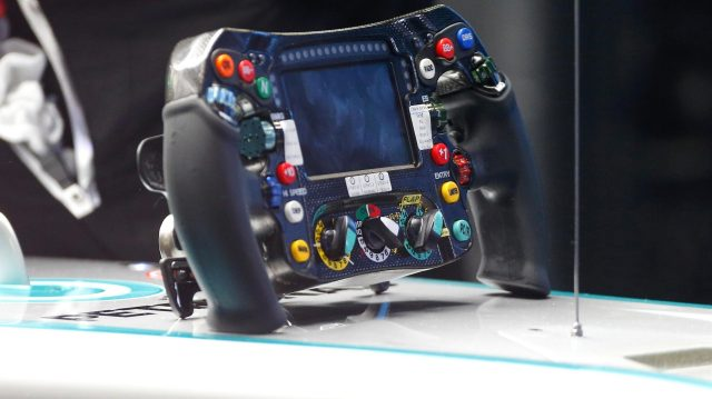 Mercedes-Benz F1 W07 Hybrid steering wheel at Formula One Testing, Day One, Barcelona, Spain, 17 May 2016. &copy&#x3b; Sutton Images
