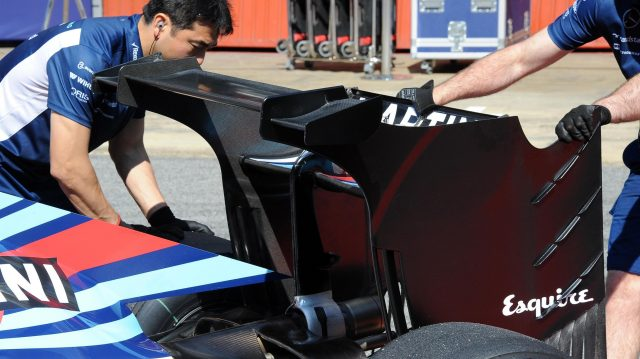 Williams FW38 rear wing detail at Formula One Testing, Day Two, Barcelona, Spain, 18 May 2016. &copy&#x3b; Sutton Images