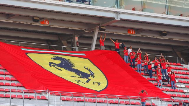 Ferrari fans and flags at Formula One Testing, Day Two, Barcelona, Spain, 18 May 2016. &copy&#x3b; Sutton Images