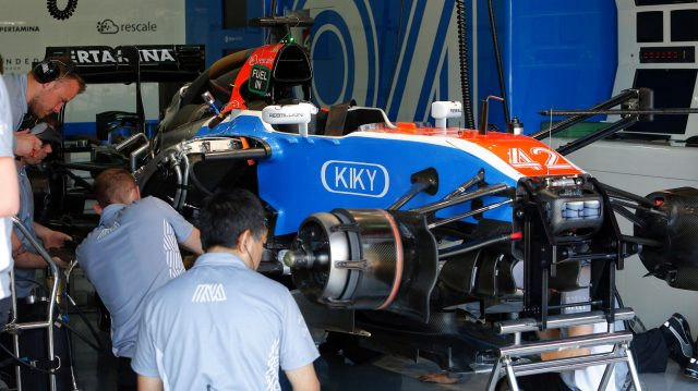 Manor Racing MRT05 in the garage at Formula One Testing, Day Two, Barcelona, Spain, 18 May 2016. &copy&#x3b; Sutton Images