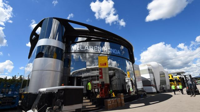 McLaren motorhome at Formula One World Championship, Rd5, Spanish Grand Prix, Preparations, Barcelona, Spain, Wednesday 11 May 2016. &copy&#x3b; Sutton Images