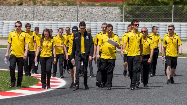 Jolyon Palmer (GBR) Renault Sport F1 Team and Esteban Ocon (FRA) Renault Sport F1 Team Test and Reserve Driver walk the track at Formula One World Championship, Rd5, Spanish Grand Prix, Preparations, Barcelona, Spain, Thursday 12 May 2016. &copy&#x3b; Sutton Images