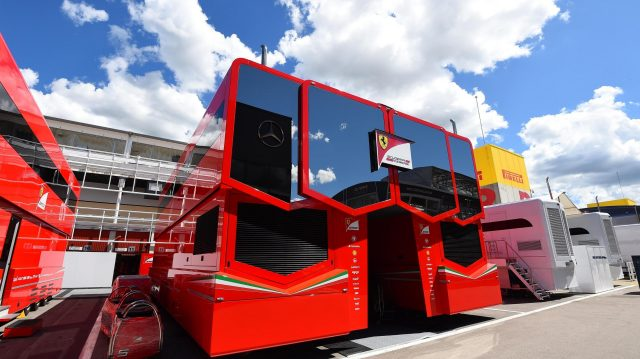 Ferrari motorhome at Formula One World Championship, Rd5, Spanish Grand Prix, Preparations, Barcelona, Spain, Wednesday 11 May 2016. &copy&#x3b; Sutton Images