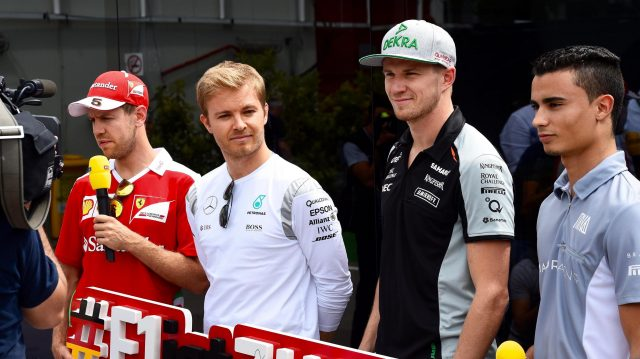 Sebastian Vettel (GER) Ferrari, Nico Rosberg (GER) Mercedes AMG F1, Nico Hulkenberg (GER) Force India F1 and Pascal Wehrlein (GER) Manor Racing at Formula One World Championship, Rd5, Spanish Grand Prix, Preparations, Barcelona, Spain, Thursday 12 May 2016. &copy&#x3b; Sutton Images