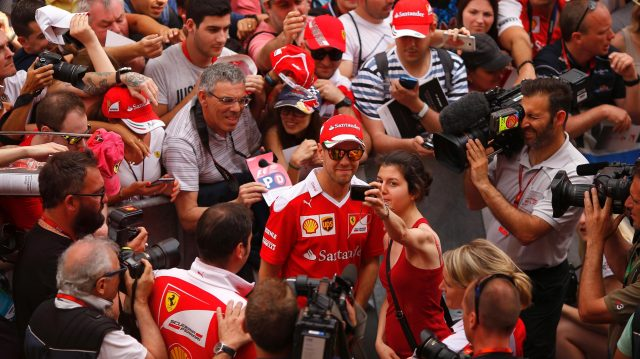 Sebastian Vettel (GER) Ferrari selfie with the fans at Formula One World Championship, Rd5, Spanish Grand Prix, Preparations, Barcelona, Spain, Thursday 12 May 2016. &copy&#x3b; Sutton Images