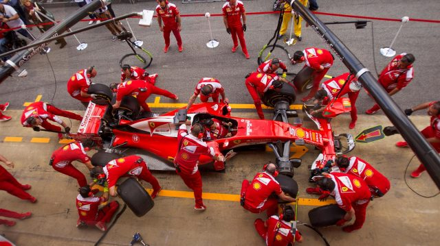 Ferrari pit stop practice at Formula One World Championship, Rd5, Spanish Grand Prix, Preparations, Barcelona, Spain, Thursday 12 May 2016. &copy&#x3b; Sutton Images