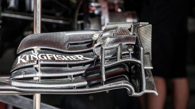 Force India VJM09 front wing detail at Formula One World Championship, Rd5, Spanish Grand Prix, Preparations, Barcelona, Spain, Thursday 12 May 2016. &copy&#x3b; Sutton Images