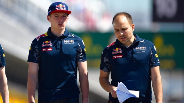 Max Verstappen (NED) Red Bull Racing walks the track with Gianpiero Lambiase (ITA) Red Bull Racing Race Engineer at Formula One World Championship, Rd5, Spanish Grand Prix, Preparations, Barcelona, Spain, Thursday 12 May 2016. &copy&#x3b; Sutton Images