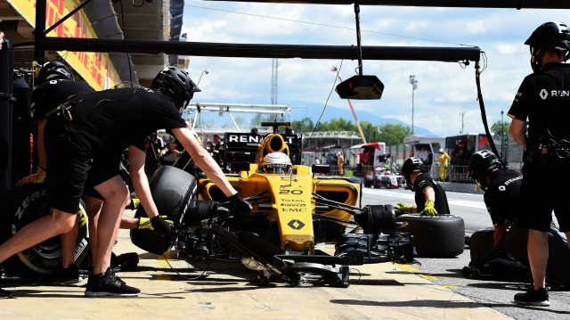 Kevin Magnussen (DEN) Renault Sport F1 Team RS16 pit stop at Formula One World Championship, Rd5, Spanish Grand Prix, Practice, Barcelona, Spain, Friday 13 May 2016. &copy&#x3b; Sutton Motorsport Images