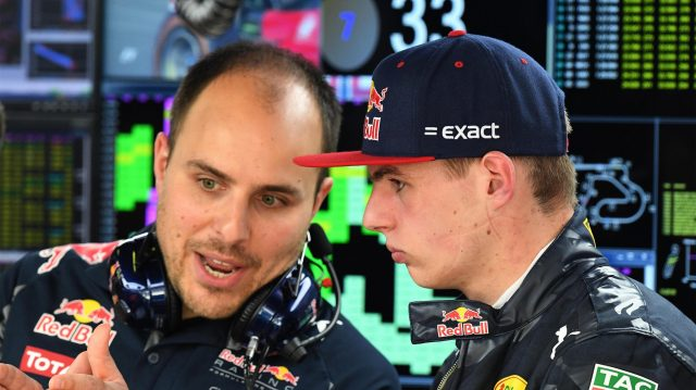 Max Verstappen (NED) Red Bull Racing talks with Gianpiero Lambiase (ITA) Red Bull Racing Race Engineer at Formula One World Championship, Rd5, Spanish Grand Prix, Practice, Barcelona, Spain, Friday 13 May 2016. &copy&#x3b; Sutton Motorsport Images