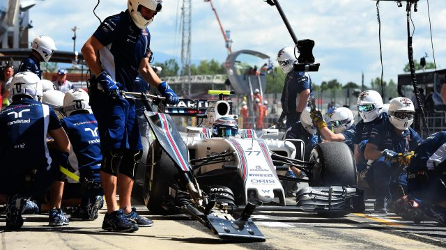 Valtteri Bottas (FIN) Williams FW38 pit stop at Formula One World Championship, Rd5, Spanish Grand Prix, Practice, Barcelona, Spain, Friday 13 May 2016. &copy&#x3b; Sutton Motorsport Images