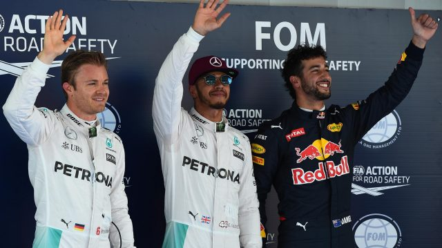 (L to R): Nico Rosberg (GER) Mercedes AMG F1, pole sitter Lewis Hamilton (GBR) Mercedes AMG F1 and Daniel Ricciardo (AUS) Red Bull Racing celebrate in parc ferme at Formula One World Championship, Rd5, Spanish Grand Prix, Qualifying, Barcelona, Spain, Saturday 14 May 2016. &copy&#x3b; Sutton Motorsport Images