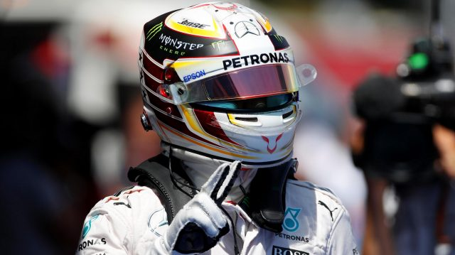 Pole sitter Lewis Hamilton (GBR) Mercedes AMG F1 celebrates in parc ferme at Formula One World Championship, Rd5, Spanish Grand Prix, Qualifying, Barcelona, Spain, Saturday 14 May 2016. &copy&#x3b; Sutton Images