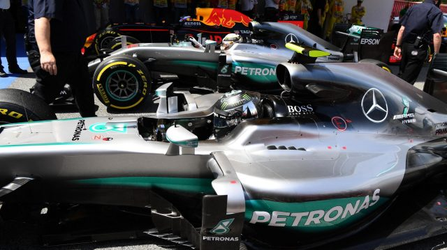 Nico Rosberg (GER) Mercedes-Benz F1 W07 Hybrid in parc ferme at Formula One World Championship, Rd5, Spanish Grand Prix, Qualifying, Barcelona, Spain, Saturday 14 May 2016. &copy&#x3b; Sutton Motorsport Images