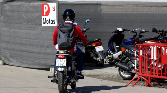 Sebastian Vettel (GER) Ferrari arrives on a Triumph motorbike at Formula One World Championship, Rd5, Spanish Grand Prix, Race, Barcelona, Spain, Sunday 15 May 2016. &copy&#x3b; Sutton Images