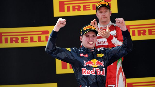 Race winner Max Verstappen (NED) Red Bull Racing celebrates on the podium at Formula One World Championship, Rd5, Spanish Grand Prix, Race, Barcelona, Spain, Sunday 15 May 2016. &copy&#x3b; Sutton Motorsport Images