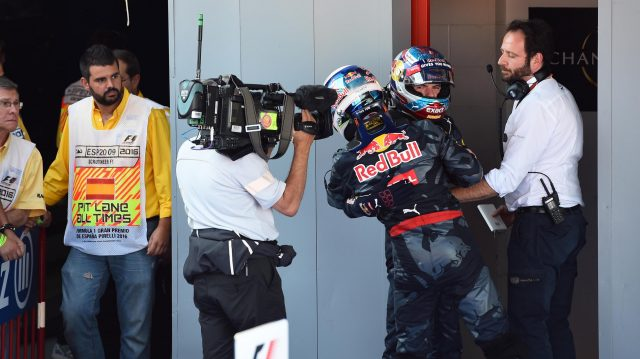 Daniel Ricciardo (AUS) Red Bull Racing celebrates with race winner Max Verstappen (NED) Red Bull Racing in parc ferme at Formula One World Championship, Rd5, Spanish Grand Prix, Race, Barcelona, Spain, Sunday 15 May 2016. &copy&#x3b; Sutton Motorsport Images