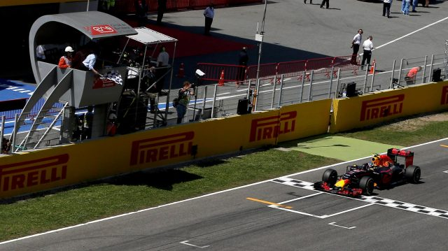 Race winner Max Verstappen (NED) Red Bull Racing RB12 crosses the line and takes the chequered flag at Formula One World Championship, Rd5, Spanish Grand Prix, Race, Barcelona, Spain, Sunday 15 May 2016. &copy&#x3b; Sutton Motorsport Images