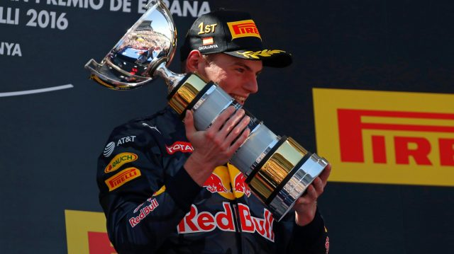 Race winner Max Verstappen (NED) Red Bull Racing celebrates on the podium with the trophy at Formula One World Championship, Rd5, Spanish Grand Prix, Race, Barcelona, Spain, Sunday 15 May 2016. &copy&#x3b; Sutton Images
