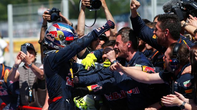 Race winner Max Verstappen (NED) Red Bull Racing celebrates in parc ferme at Formula One World Championship, Rd5, Spanish Grand Prix, Race, Barcelona, Spain, Sunday 15 May 2016. &copy&#x3b; Sutton Images