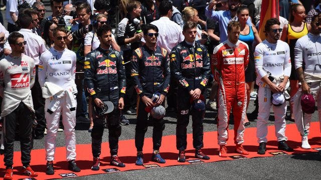 Drivers observe the National Anthem on the grid at Formula One World Championship, Rd5, Spanish Grand Prix, Race, Barcelona, Spain, Sunday 15 May 2016. &copy&#x3b; Sutton Motorsport Images