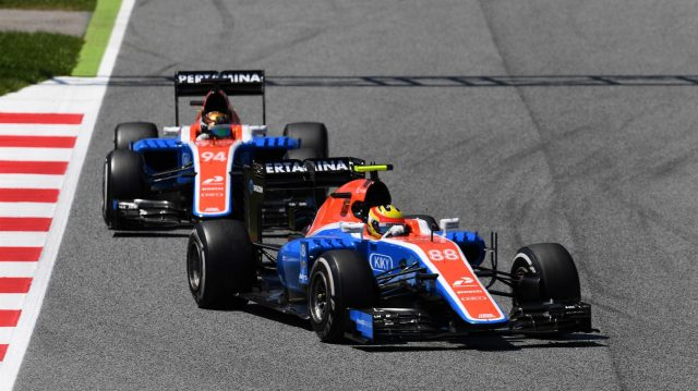 Rio Haryanto (IDN) Manor Racing MRT05 leads Pascal Wehrlein (GER) Manor Racing MRT05 at Formula One World Championship, Rd5, Spanish Grand Prix, Race, Barcelona, Spain, Sunday 15 May 2016. &copy&#x3b; Sutton Motorsport Images