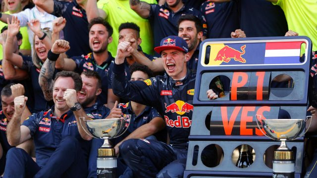 Race winner Max Verstappen (NED) Red Bull Racing celebrates with the team at Formula One World Championship, Rd5, Spanish Grand Prix, Race, Barcelona, Spain, Sunday 15 May 2016. &copy&#x3b; Sutton Images