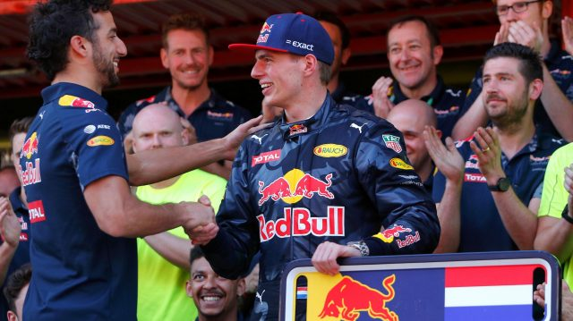 Race winner Max Verstappen (NED) Red Bull Racing celebrates with the team and Daniel Ricciardo (AUS) Red Bull Racing at Formula One World Championship, Rd5, Spanish Grand Prix, Race, Barcelona, Spain, Sunday 15 May 2016. &copy&#x3b; Sutton Images