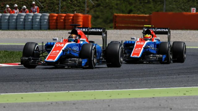 Pascal Wehrlein (GER) Manor Racing MRT05 leads Rio Haryanto (IDN) Manor Racing MRT05 at Formula One World Championship, Rd5, Spanish Grand Prix, Race, Barcelona, Spain, Sunday 15 May 2016. &copy&#x3b; Sutton Images